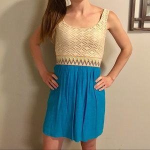 Charlotte Russe Cream Lace And Blue Chiffon Dress